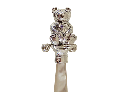 Victorian Style Enamel Teddy Bear Rattle with Carved Resin Handle